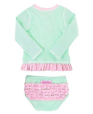 RuffleButts Baby/Toddler Girls Mint Seersucker Long Sleeve Rash Guard Bikini - 6-12m