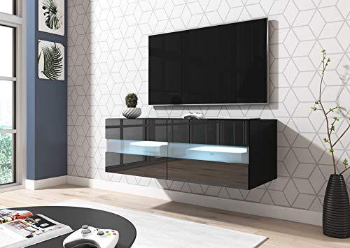 TV Meubel Zwevend Zwart 100 Cm Modern - LED - TV Meubel Hangend - Met Opbergvakken - TV Meubel Zwart - Stijlvol En Kwaliteit - TV Kast Zwart - Perfecthomeshop
