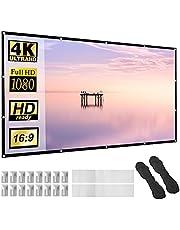"""Projectorscherm 120 """"Dikker Materiaal 16:9 HD Opvouwbaar Anti-vouw Draagbaar Projectiefilm voor Thuis, Kantoor, Feest, Klaslokaal, Outdoor Binnen, Ondersteuning Dubbelzijdige Projectie."""