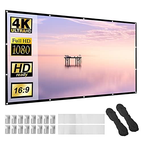 Beamer Leinwand 120 Zoll 16:9 HD Faltbarer Bildschirm für tragbare Anti-Falten-Projektionsfilme für Heimkino-Außenunterstützung Doppelseitige Projektion 265x149cm