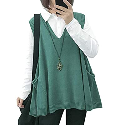 Women Loose Swing Chunky Cotton Sweater Vests Oversized Knit Pullovers