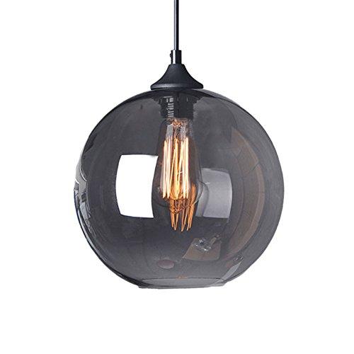 Cozyle Glas Pendelleuchte Vintage Industrial Ball Runde Schatten Loft Pendelleuchte Retro-Deckenleuchte Vintage-Lampe Grau