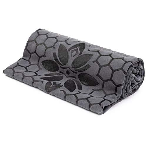 Toalla de yoga antideslizante con diseño de silicona que proporciona un agarre increíble y perfecto como tapete de decoración (gris)