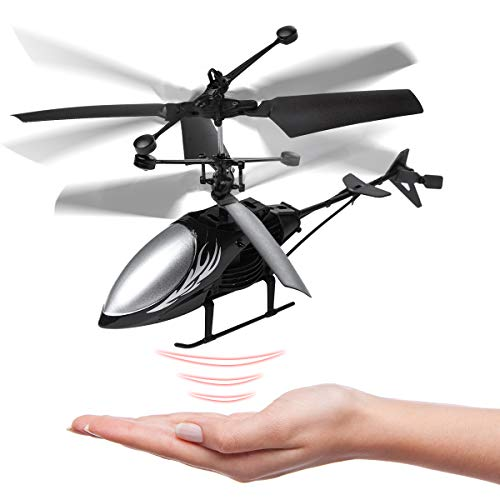 Remote Control Helicopter Flying Toys, Mini Led Rechargeable Hand Operated Drone with LED Light for...