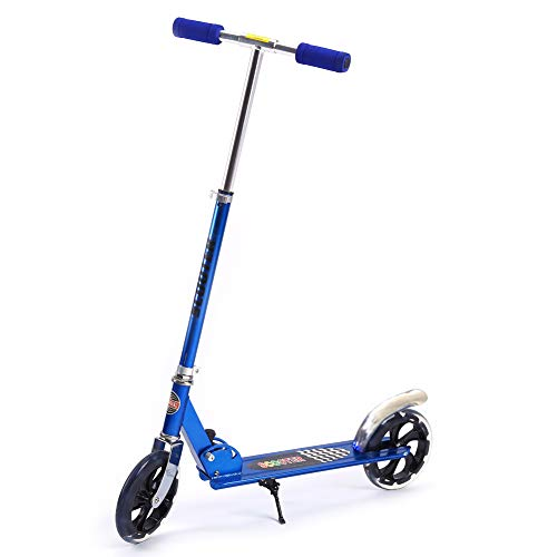LRXG Scooter Cityroller Kickroller Adultos Scooter De Empuje Plegable Scooter De Empuje Plegable 200mm Azul