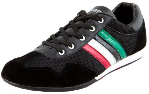 Luvanni Zapatillas deportivas para hombre, para el tiempo libre, para adultos, con rayas, diseño italiano moderno con piel de ante auténtica, color Negro, talla 41 EU