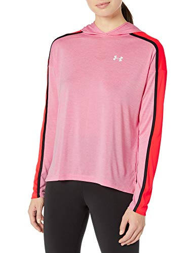 Under Armour Damen Tech Twist Graphic Hoodie Langärmlig, Lippenstift (691)/Weiß, XL