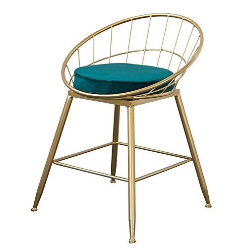 GHM Bar Chaises Bar Chaise Iron Art Or Ménage Haut Tabouret Chaise À Manger Moderne Métal Bar Tabouret (Couleur : Vert, Taille : H45cm)