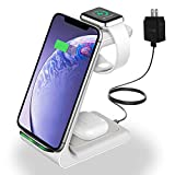 Wireless Charger, YOCUNKER 3 in 1 Wireless Charging Station for Apple Watch SE/6/5/4/3/2 & AirPods 2 / Pro Fast Qi Charger Dock for iPhone 12/11/ Xs/X Max/XR/X/ 8Plus/ Samsung (Included Adapter)