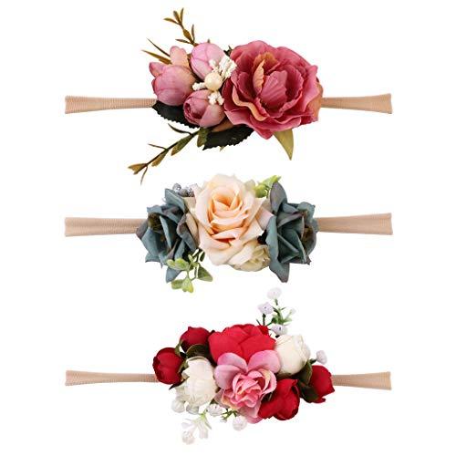 3pcs Blumenkranz Blumen Stirnband Blumenkrone Haarkranz Brautbrautjungfern Haarband für Mädchen Baby - N