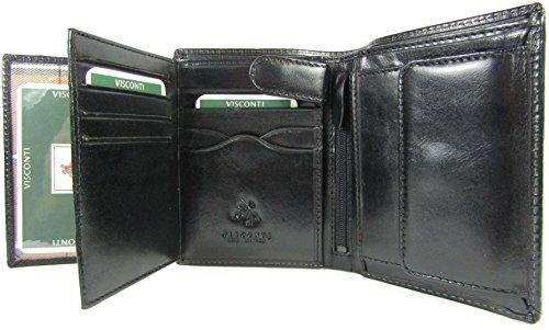 New Visconti Monza top of The Range Multi Pocket Italian Leather Mens Wallet Money Bag Style MZ3 Black