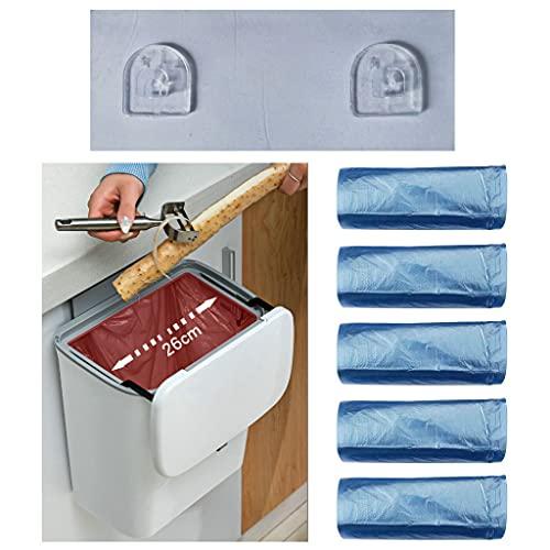 洗面所 ゴミ箱 壁掛け スライダー式 キッチン ごみ箱 壁掛けゴミ箱 キッチン U型ステッカー 穴あけ不要 簡単設置 リビングルーム 洗面台 トイレ用(贈り物 ごみ袋 20枚 x5個セット=100枚)