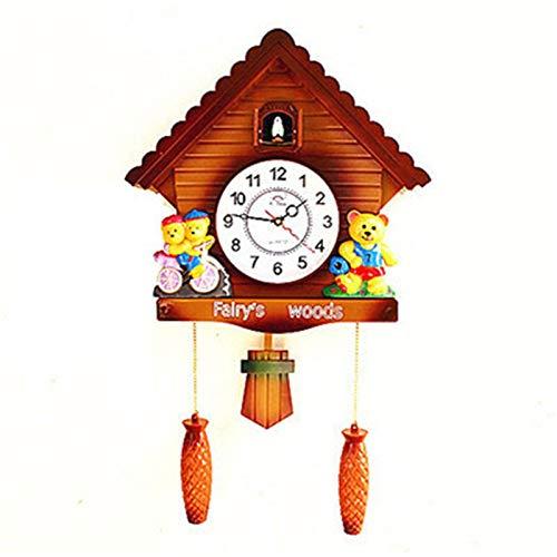 HXiaDyG Relojes de Cuco Relojes de Cuco Reloj de Pared Péndulo Antiguo Péndulo for habitación de casa Decoración de Pared Sound Cuckool Reloj para Sala de Estar (Color : Marrón, Size : 20 Inches)
