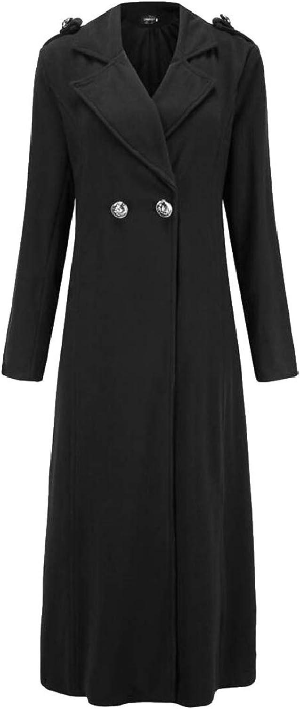 QDCACA Women's Classic One Button Notched Lapel Wool Blend Long Trench Coat