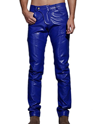 Idopy Herren Schlanke Passform Party Performance Biker Faux Leder Jeans Hosen Pu-Hose, Blau, 36(Taille 94cm)