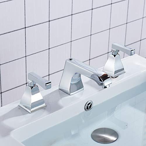 Huasaa heldere chromen badkamerkraan breed verbreide dubbele greep-badmengkraan plafond aangebrachte hete koude waterkraan