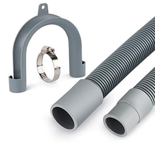 ilauke Verlängerung Ablaufschlauch (Geeignet für Wasch-/Spülmaschinenschlauch, Inklusive Bügel und Schlauchschellen, 1,5m)