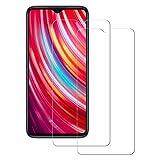 POOPHUNS 2 Stück Panzerglas Schutzfolie kompatibel mit Xiaomi Redmi Note 8 Pro, Gehärtetes Glas Bildschirmschutzfolie mit 9H Festigkeit, HD Ultra Klar, Anti-Kratzen, Bildschirmschutz Folie für Redmi Note 8 Pro