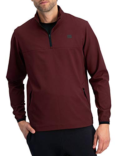 Herren Windbreaker Jacke, halber Reißverschluss, Golf Pullover, Windjacke, belüftet, Dry Fit, Herren, dunkles burgunderrot, Small