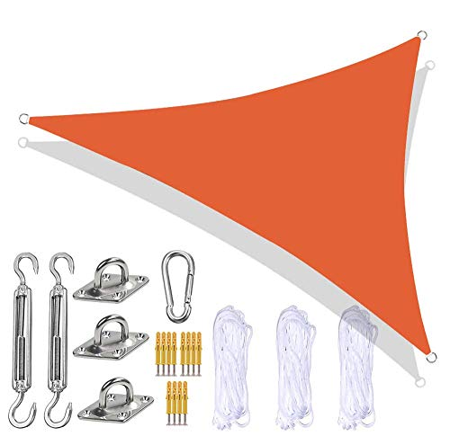 Toldo triangular toldo para jardín con kit de fijación resistente 3 cuerdas impermeable anti-UV toldo para exterior toldo para patio balcón naranja 3 x 3 x 3 m