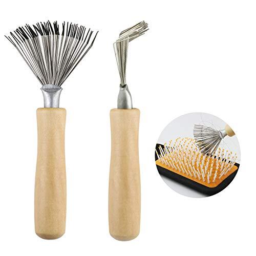 2 Stück Haarbürstenreiniger Haarbürsten Reiniger Werkzeug Home Haarbürsten-Kamm-Reiniger Kammreiniger mit Holzgriff für alle Bürstengrößen zum Reinigen von Bürsten, Kämmen, Badematten, Teppichen