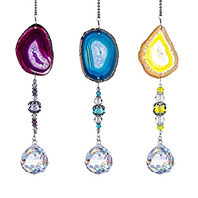 H&D Pack 3pcs Suncatcher Hanging 30mm Crystal Ball with Agate Slices Wind Chimes Ornaments Decor for Window Home Garden