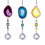 H&D HYALINE & DORA Pack 3pcs Suncatcher Hanging 30mm Crystal Ball with Agate Slices Wind Chimes Ornaments Decor for Window Home Garden