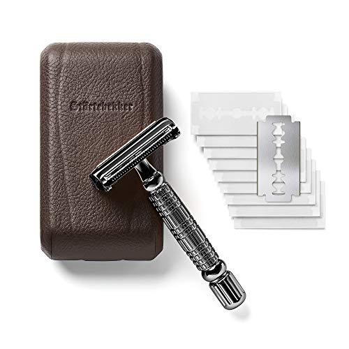 Maquinilla de afeitar clásica en estuche de cuero hecho a mano [10 hojas Astra] - Cuchilla de afeitar de primera calidad - Set de afeitado con espejo integrado