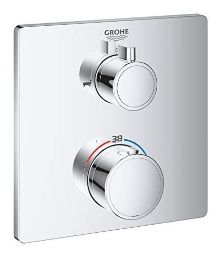 Grohe 24080000-Batería de ducha Grohtherm con termostato, color Cromo, Cuadrado