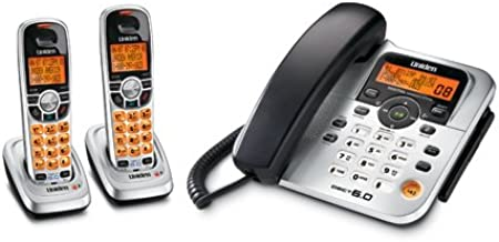 Uniden DECT1588-2 DECT 6.0 Corded/Cordless Digital Answering System with Dual Keypad and Two Cordless Handsets
