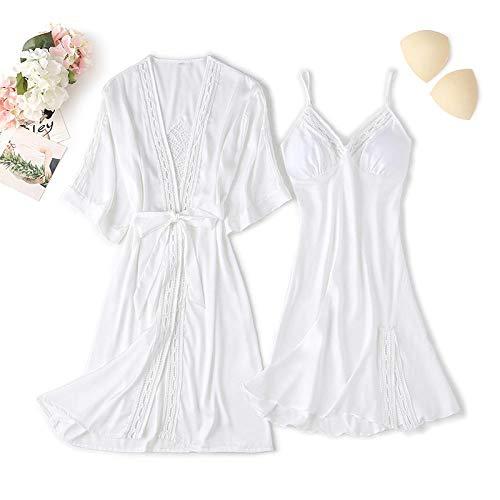 CCFF Pijama Invierno Set de Dos Piezas de túnica de Pijamas Sexy-Blanco_LPijamas Mujer Algodon