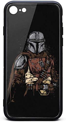 Carcasa para iPhone 6/iPhone 6S Mandalorian-Hunter, unisex, cristal templado frío, color negro, antiarañazos, goma TPU