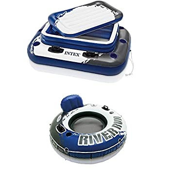 Intex Inflatable Mega Chill II 72 Can Cooler Float & 1 Person Floating Raft