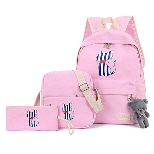 Zaino Casual Scuola Set 3Pcs Daypacks / Canvas Backpack Tela Zaini Ragazza / Donna+ Messenger Bag + Purse Pink Taglia unica