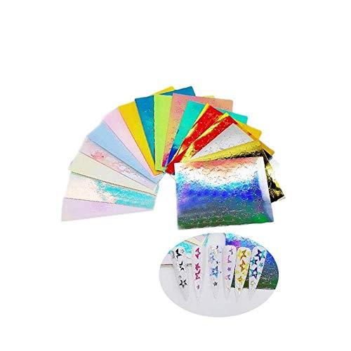 YSXH Flor holográfica uñas láminas calcomanía Nail Art Transfer Sticker Decor, alas de Mariposa Nail calcomanía, decoración de calcomanías DIY, Herramientas de decoración de uñas (TypeC)