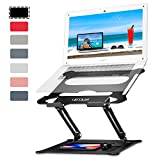 Urmust Laptop Notebook Stand Holder, Ergonomic Adjustable Ultrabook Stand Riser Portable with Mouse Pad Compatible with MacBook Air Pro, Dell, HP, Lenovo Light Weight Aluminum Up to 15.6'(Black)