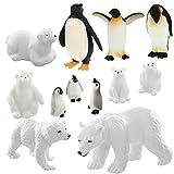 12 Pieces Polar Animal Figurines Toys Polar Animal Figures Set Includes 6 Pieces Polar Bear Family Figurines and 6 Pieces Emperor Penguin Family Figures for Birthday Christmas Party Favor
