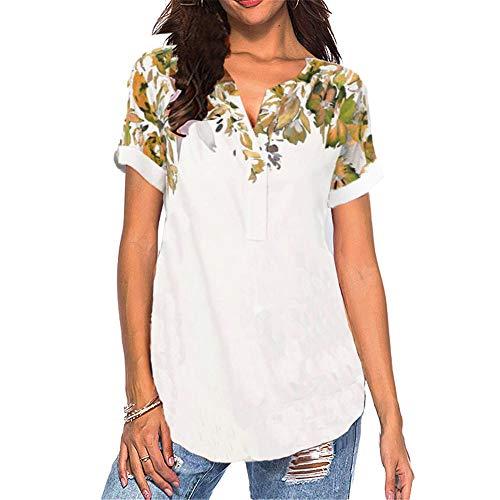 Camisa con Cuello en v Estampada para Mujer de Verano Camiseta de Manga Corta para Mujer