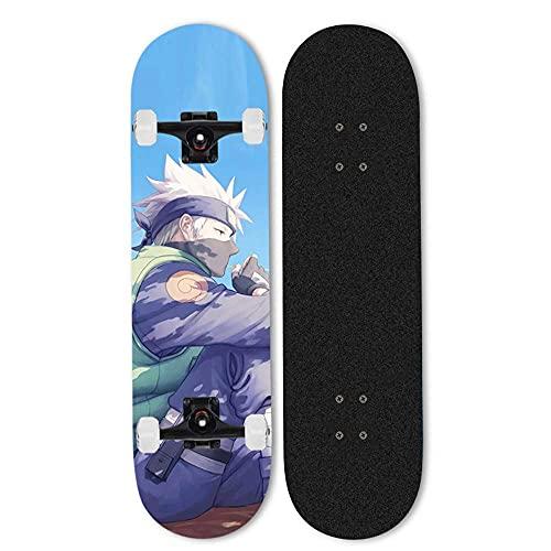 ZHANGYH skateboard nybörjare professionell komplett skateboard personlighet skateboards Naruto Hatake Kakashi skridskobrädor 7-lager lönn skridskobräda för barn i åldern 15-12 80 cm