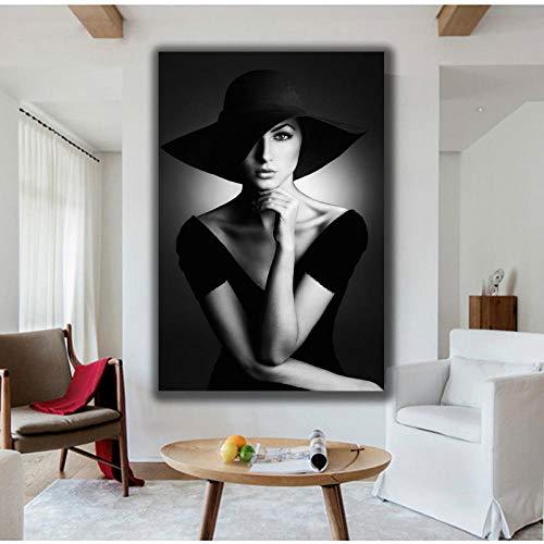 XuFan Retrato Lienzo Pintura Negro Blanco Imprime Mujer con Sombrero Pared Arte Cuadros para Sala galería decoración del hogar 50x70cm Sin Marco