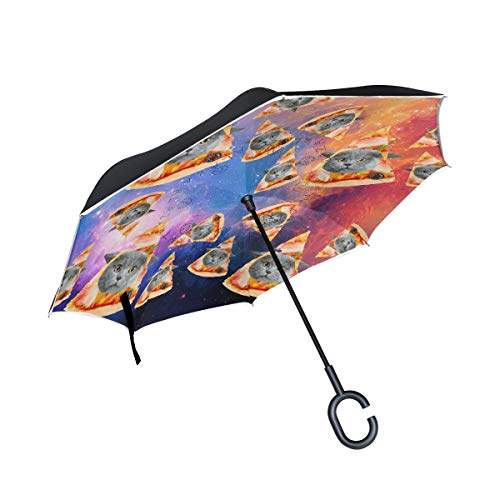 Fat Kitty Pizza Cat Galaxy Double Layer Reverse/Inverted Umbrellas for Car Windproof