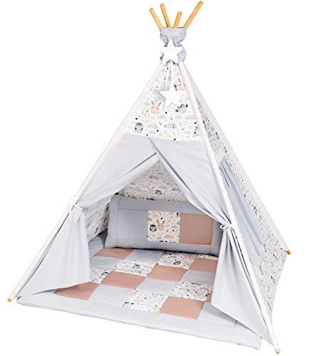 Amilian Tipi Zelt für Kinder; Spielhaus für Kinderzimmer; Indianerzelt, Tippi, Teepee, Tent, Spielzelt mit gepolsterter Matte / Tipidecke / Bodenmatte und Dekokissen T70