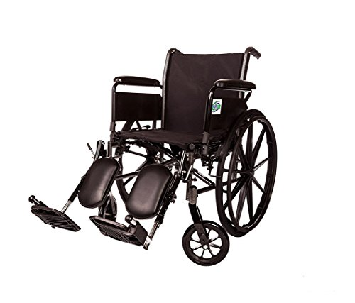 Healthline Lightweight Wheelchair Folding Transport Chair, Lightweight Folding Transport Wheelchair Light Medical Standard Manual Wheelchair, Comfortable Full Arms and Elevating Legrest, 18 Inch Seat