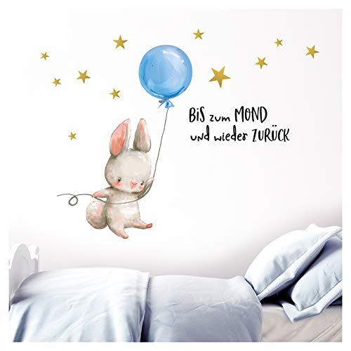 Little Deco Wandtattoo Babyzimmer Hase & Spruch Bis zum Mond I M - 76 x 40 cm (BxH) I Luftballon Blau Kinderbilder Deko Kinderzimmer Jungen Aufkleber Sticker DL229