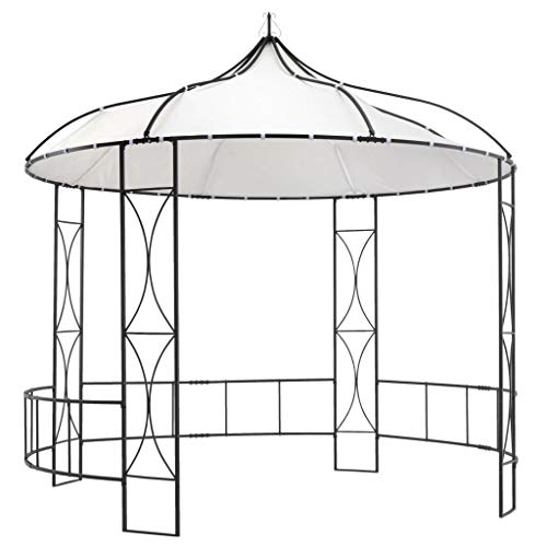 vidaXL Gazebo Sturdy Stable Durable Spacious Elegant Picnic Barbecue Outdoor Garden Canopy Shelter Cover Party Tent 300x290cm White Round