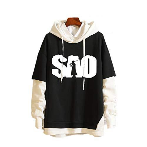 GUJUN Anime Sword Art Online Unisex Long Sleeve Printed Fake Zwei Hoodies, Sweatshirts für Teenager, Jungen und Mädchen