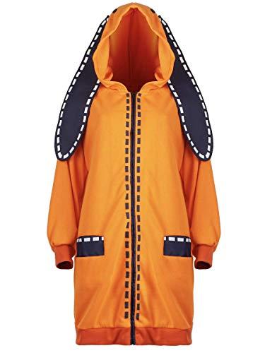 CoolChange Kakegurui Kostüm, Hoodie von Runa Yomozuki, Hasen Kigurumi, Orange, Größe: M