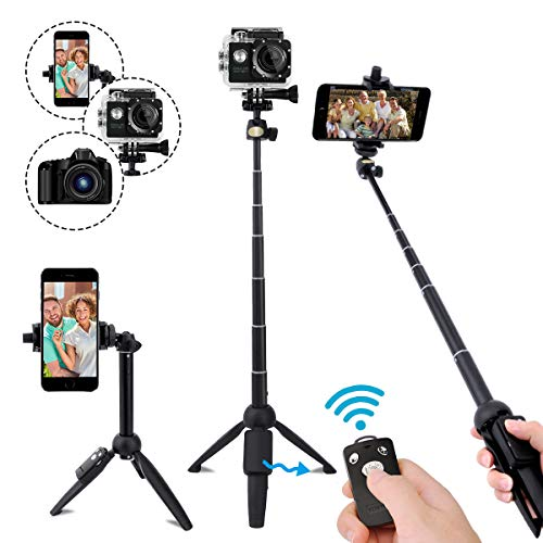 Selfie Stick,40 Inch Extendable Selfie Stick Tripod and Phone Tripod Stand with Rechargeable Wireless Remote,Compatible with iPhone 11 Pro Xs X 8 7 6 Plus,Samsung Galaxy S8 S9 S10,Gopro,Camera