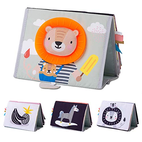 Taf Toys Savannah Infant Tummy-time Soft Crinkle Activity Book with Huge Baby Safe Mirror, 3D Activities, Textures and a Soft Baby Teether, Various