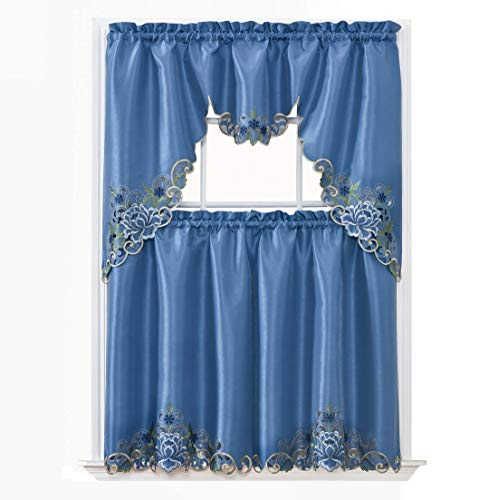 GOHD Golden Ocean Home Decor Passionate Bloom Kitchen Curtain Set Swag Valance and Tier Set. Nice Embroidery on Faux Silk Fabric with cutworks. (Riverside Blue)